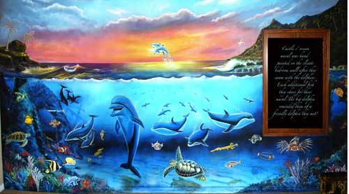 Murals mural photo album by skywoods decorative painting for Dolphins paradise wall mural