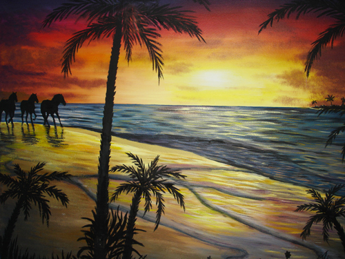 Murals mural photo album by skywoods decorative painting for Beach sunset mural