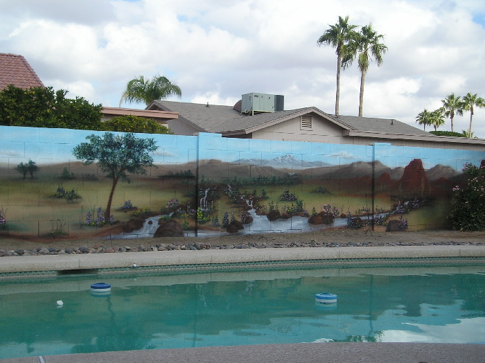 Mural Design Photo #68294. Peaceful And Relaxing View Of Nature, Blending  Into The Swimming Pool And Atmosphere Of The Yard. Part 53