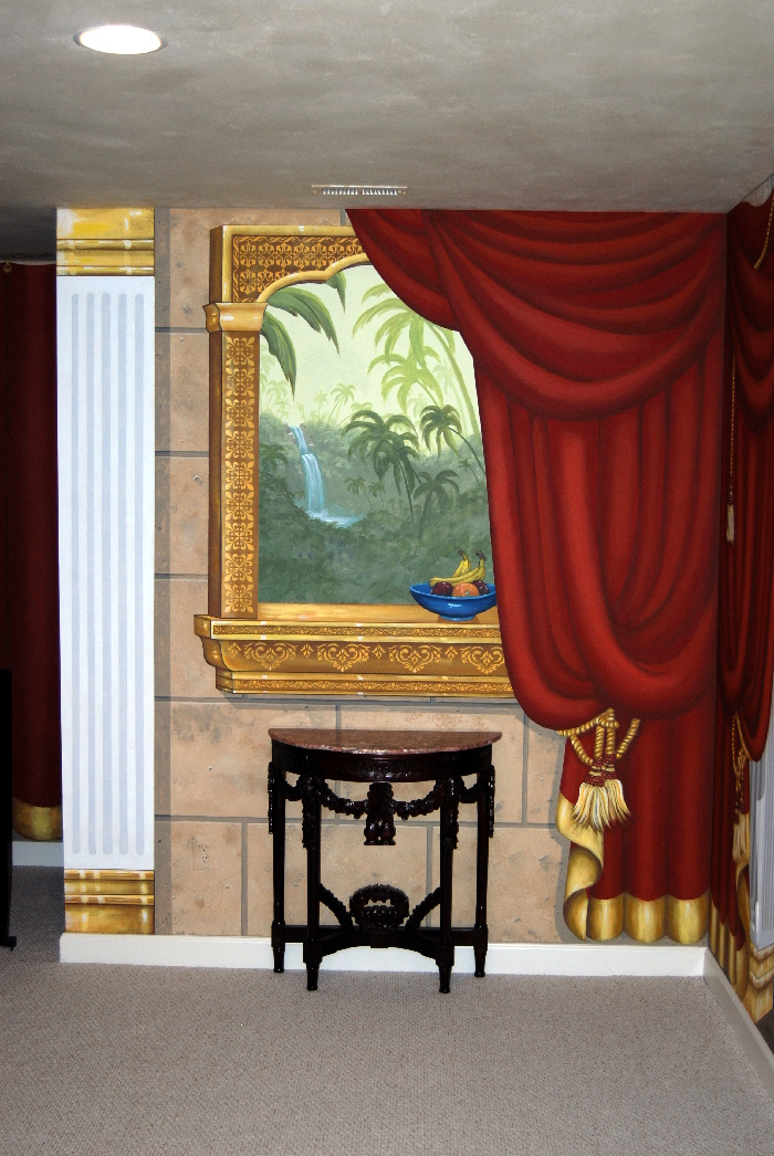 indian palace trompe l 39 oeil mural in home theater room mural photo album by mural art llc. Black Bedroom Furniture Sets. Home Design Ideas