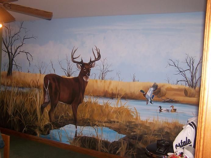 Wildlife murals for walls for Deer wall mural