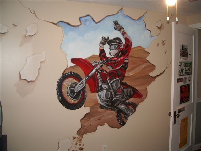 Marvelous This Exciting Mural Subject Was Chosen By The Clientu0027s Son Who Raced Dirt  Bikes. He Was So Happy To Have One Crashing Through His Bedroom Wall! Part 32