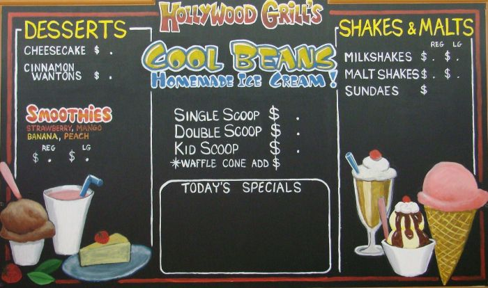 Chalkboard Signs & Menu Boards for Commercial businesses - Mural ...