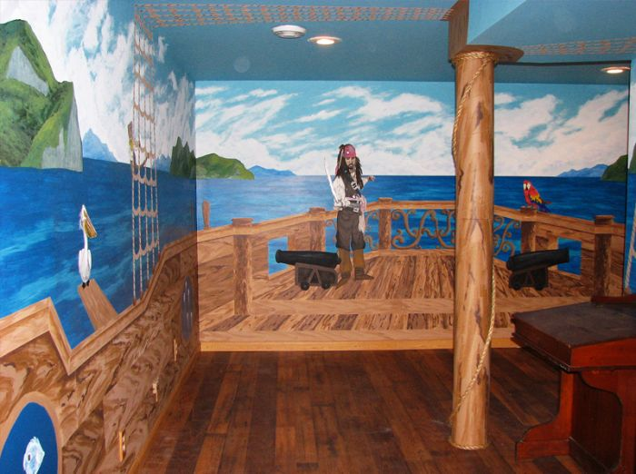 Full Room Mural Painted To Look Like The Entire Room Was On A Pirate Ship  Complete With Mast. See More Childrenu0027s Murals On My Website: Www. Part 75