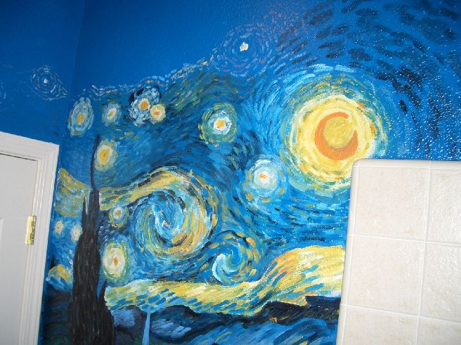 Starry Night Was Painted In Van Goghu0027s Style Along With Three Other Van  Gogh Paintings All On The Same Bathroom Walls. Part 37