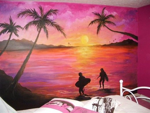 Image gallery sunset murals for Beach sunset wall mural