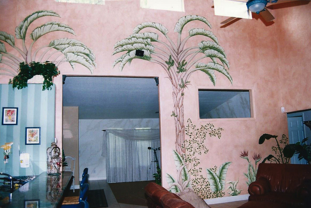 Palm Tree Living Room Wall Murals. Naples, Florida.